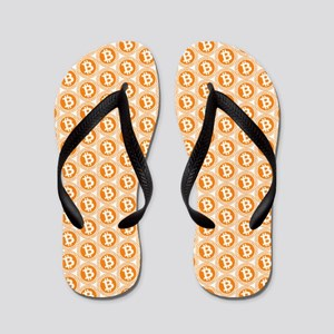 Bitcoin All-Over Logo Orange Flip Flops